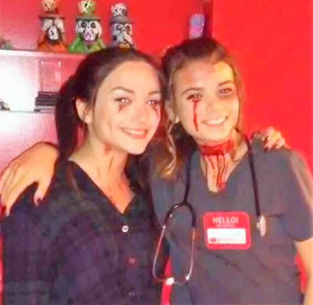 Taylor Lempa, junior, (left) and Alysa Stagliano, freshman, show they are not too old for Halloween.