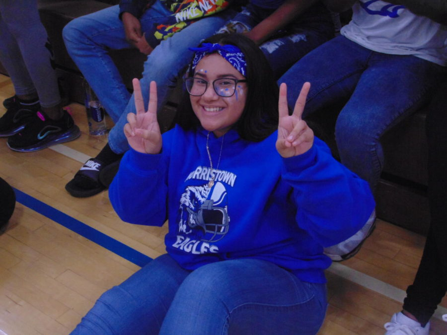 Sophmore Emily Trejo-Mora shows off her spirit for the 2019 Homecoming Pep Rally.