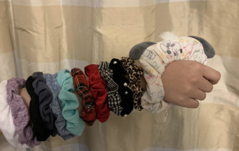 The sleeve of scrunchies keeps the