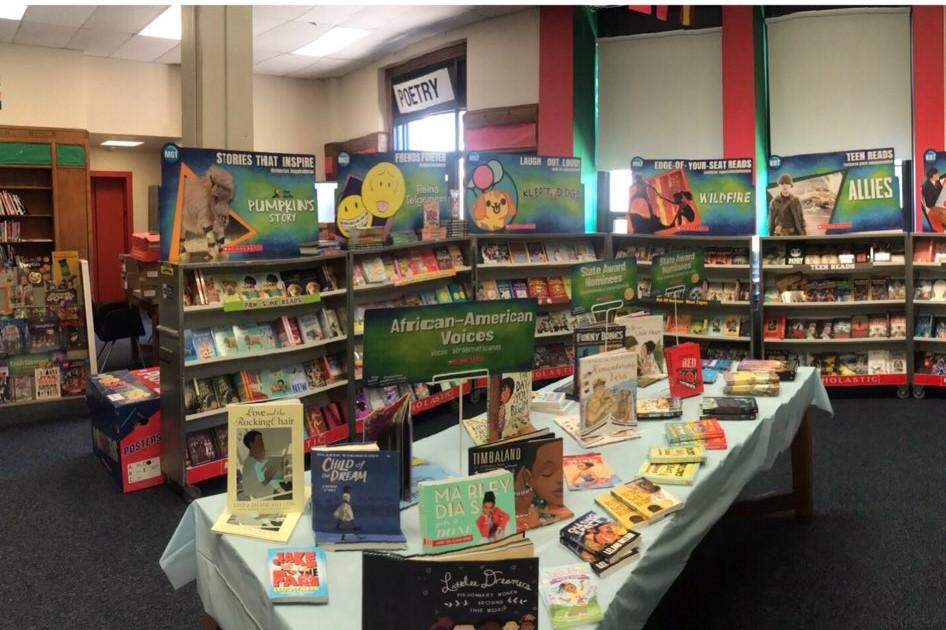 The Scholastic book fair blasts it's way in Eisenhower Middle School.