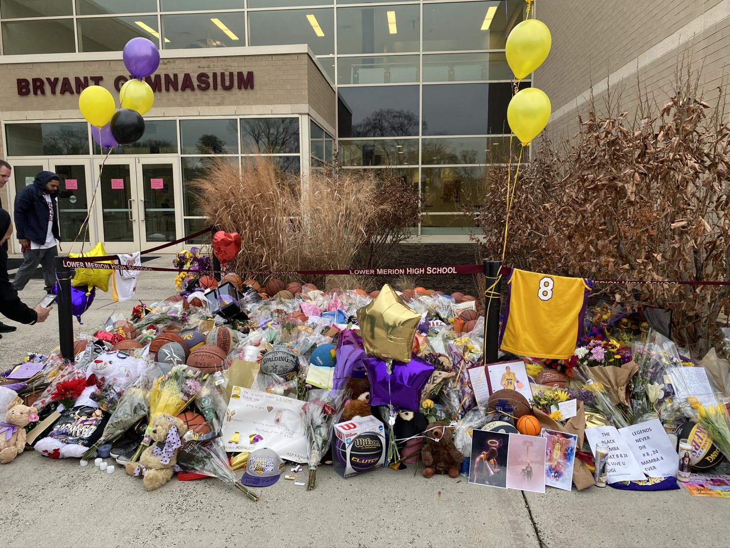 A memorial stands Lower Merion High School, Kobe Bryant's alma mater, which is fewer that 15 miles from Norristown. Bryant was drafted into the NBA directly from his high school.