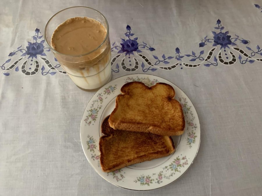 Brown sugar toast with a refreshing cup of whipped coffee on the side!
