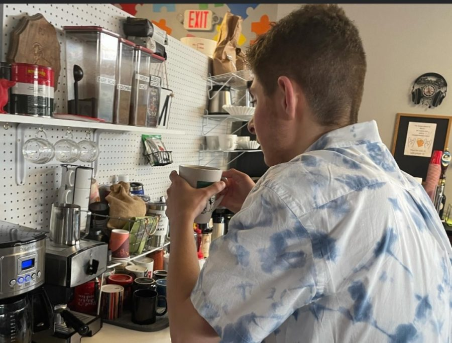 McFarland brews a hot cup of joe for his customers as the Coffee Closet.